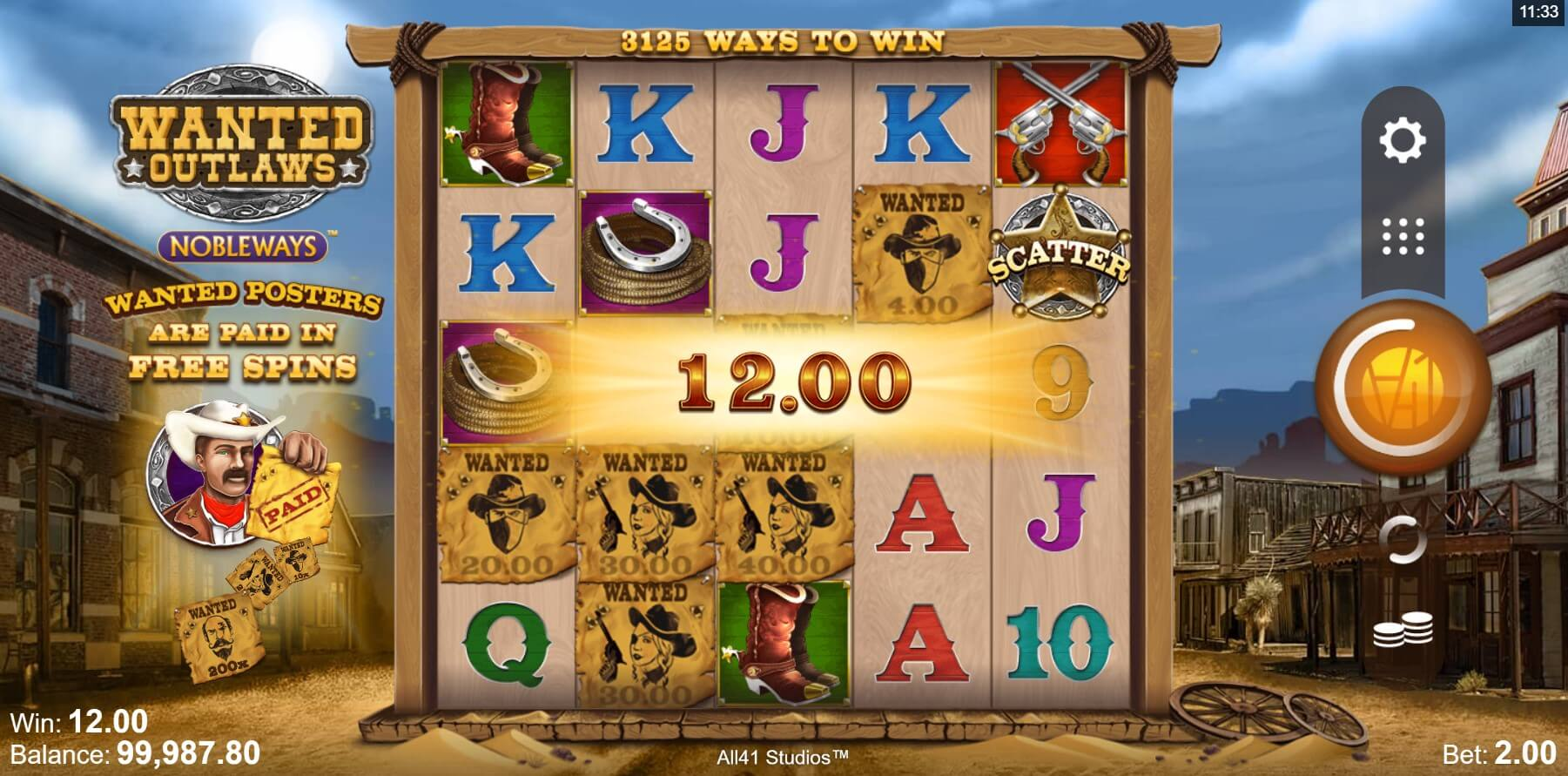 Wanted Outlaws Nobleways Slot Game